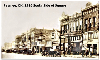 South Side of the Square, Pawnee, OK 1920s